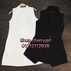 shop cherrygirl chuyên sỉ SLL- bộ đầm sơ mi và vest,sỉ 135k