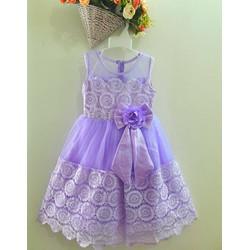 [HÀNG THIẾT KẾ] - Đầm CC ren tím đính nơ eo