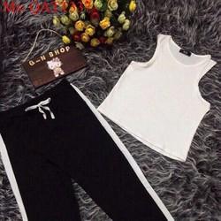 Sét bộ thể thao nữ áo ba lỗ phối quần dài sọc màu trẻ trung QATT337