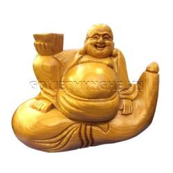 Tượng Phật Di Lặc Ngồi Bầu Rượu Gỗ Tự Nhiên