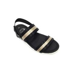 Giày Sandal sọc 2 quai ngang đen phối đồng Everest E130