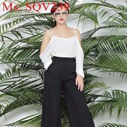 Sét áo kiểu 2 dây xẻ tay phối quần suông lửng sành điệu SQV239