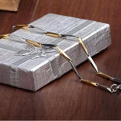 Dây chuyền inox nam kiểu hỏa tiển trắng vàng, mẫu 2mm- Trang sức inox