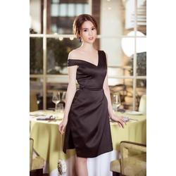 Đầm Đen Thiết Kế Lệch Vai Đẹp Như Ngọc Trinh - dxm361