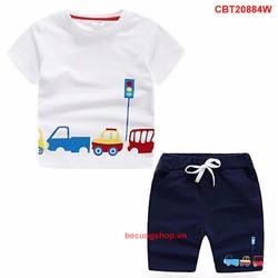 Bộ xe hơi quần da cá dễ thương cho bé trai 1 - 8 Tuổi _CBT20884