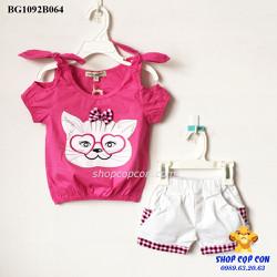 Bộ short cột vai hình mèo màu hồng