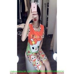 Đồ bộ mặc nhà ngắn tay hình mèo đáng yêu DBTN465