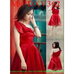 Đầm xòe dự tiêc lệch vai vải nhung đỏ sang trọng DXV362