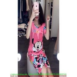 Đồ bộ mặc nhà ngắn tay hình chuột mickey phối quần lửng DBTN466