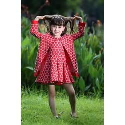 Set bộ áo khoác + váy chấm bi đỏ sang trọng cho bé tuổi 3-8