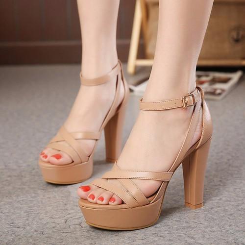 Giày sandal cao gót dây da cao gót cao cấp
