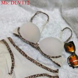 Bộ đò lót viền beo sành điệu quyến rũ DLV112