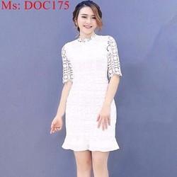 Đầm body trắng vải ren hoa nổi thời trang xinh đẹp DOC175