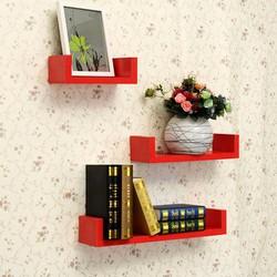 Combo 3 kệ gỗ trang trí nhà cửa gắn tường chữ U cao cấp - K39R màu đỏ