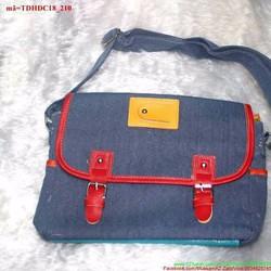 Túi đeo đi học đi chơi jean 2 khóa gài bụi bặm TDHDC18