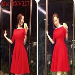 Đầm xòe dài tay cổ thuyền màu đỏ nổi bật xinh đẹp DXV327