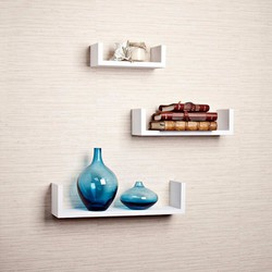 Combo 3 kệ gỗ trang trí nhà cửa gắn tường chữ U  - K39W màu trắng