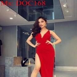 Đầm body 2 dây cổ V phối xẻ tà dài phong cách sexy DOC168