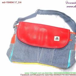 Túi đeo đi học đi chơi vải jean nắp đậy năng động TDHDC17