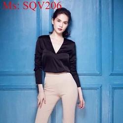 Sét áo phi bóng cổ V dài tay phối quần dài ống ôm sang trọng SQV206