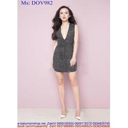 Đầm body xẻ cổ V hở lưng sành điệu xinh đẹp DOV982