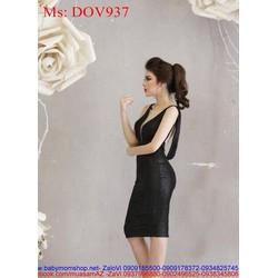 Đầm ôm dự tiệc xẻ cổ V hở lưng sang trọng DOV937