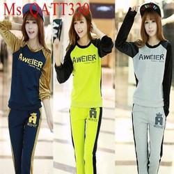 Bộ thể thao nữ áo phối màu tay Aweier và quần dài năng động QATT330