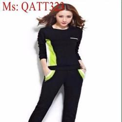 Bộ thể thao nữ dài ghép màu 2 bên trẻ trung năng động QATT323