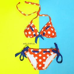 Bikini 2 mảnh cam chấm bi nơ xanh sexy dottie