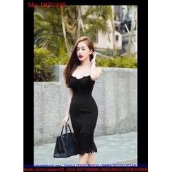 Đầm ôm đen 2 dây phối ren sang trọng và thời trang DOV948
