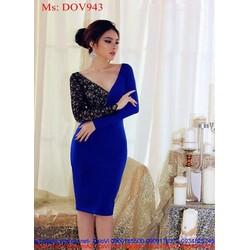 Đầm ôm dài tay xẻ cổ V phối ren bên sành điệu phong cách DOV943