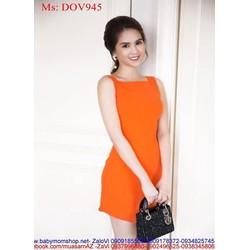 Đầm ôm sát nách thiết kế đơn giản màu cam nổi bật xinh đẹp DOV945