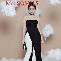 Sét áo kiểu cúp ngực xẻ tà dài phối quần ôm 2 màu sành điệu SQV215