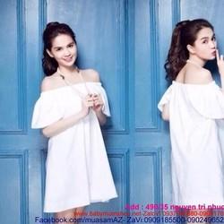Đầm suông bệt vai ngang tay bầu thời trang DSV121