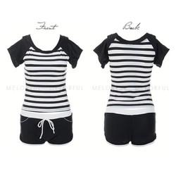 Tankini short trắng đen dạng quần short