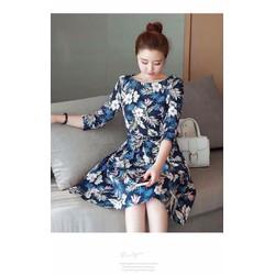 Đầm xoè hoa xanh tay lỡ Lady Fashion