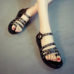 Giày sandal bánh mì 3 dây ngang nạm đinh