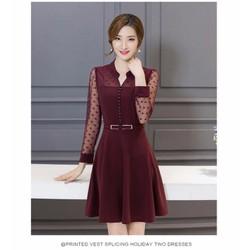 HN97-ĐẦM XÒE TAY REN CHẤM BI