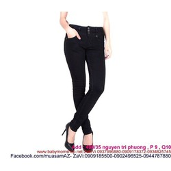 Quần jean đen nữ 3 nút sành điệu và cá tính QD238