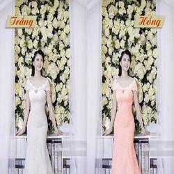 Đầm dạ hội cô dâu thiết kế xòe dài bẹt vai chất liệu ren DDH184