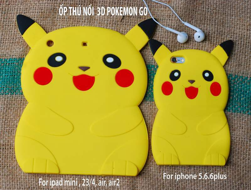 ỐP THÚ NỔI POKEMON 3D IPAD mini2,3,4, ipad 2,3,4, ipad air1,2 10