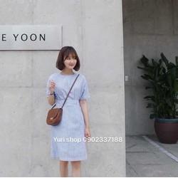Đầm kẻ sọc trắng xanh, hàng Zara đẹp chuẩn hình