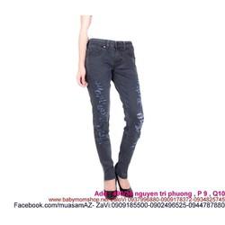 Quần jean nữ màu bạc rách xước sành điệu QD236
