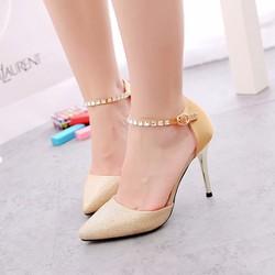 Giày cao gót ánh kim quai đá sang trọng