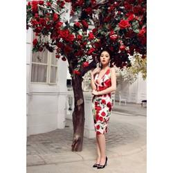 Hàng Thái: Đầm body khoét cổ V hoa hồng