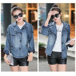 Áo khoác jeans form rộng phối nút MS 2136