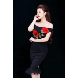 Hàng Thái: Đầm body đuôi cá thêu hoa hồng