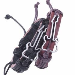 Vòng tay da mặt dây đàn ghita - k2587