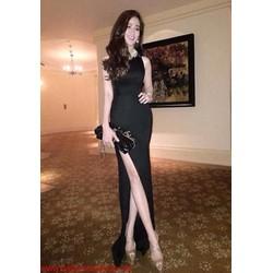 Đầm dạ hội đen quyến rũ với thiết kế xẻ đùi DDh144