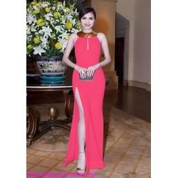 Đầm dạ hội dài xẻ đùi thiết kế cổ yếm xinh xắn DDh139